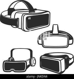 Set of virtual reality glasses icons isolated on white background. Design element for logo, label, emblem, sign. - Stock Photo