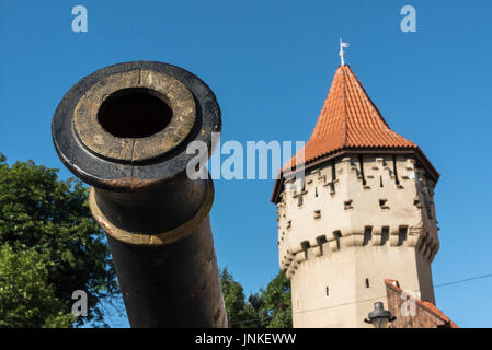 Old Cannon and Coopers Tower (Turnul Dulgherilor), Sibiu, Romania - Stock Photo