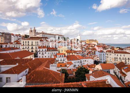 Lisbon, Portugal skyline view over Alfama city - Stock Photo