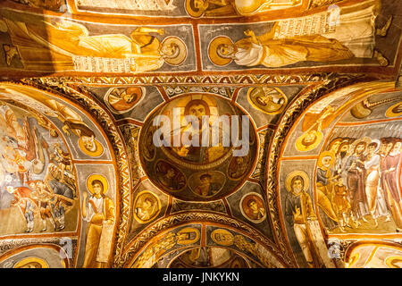 Frescos of the Dark Church in Goreme, Cappadocia, Turkey. - Stock Photo