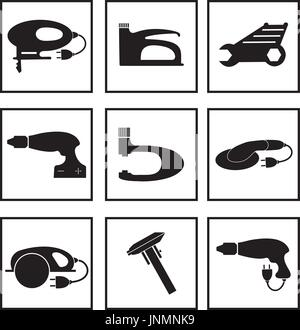 Tools mechanic icons set, black silhouette. Element logo tools, isolated on a white background. Vector illustration. - Stock Photo