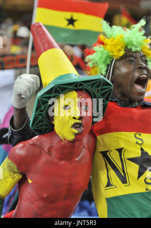 JOHANNESBURG, South Africa - Supporters of Ghana cheer during a World Cup Group D match against Germany on June 23, 2010 at Soccer City Stadium in Johannesburg, South Africa. Ghana was defeated 1-0 but both teams progressed to the tournament's second round. (Kyodo)