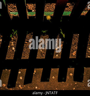 Wooden fence and contrasting shadow on the ground - Stock Photo
