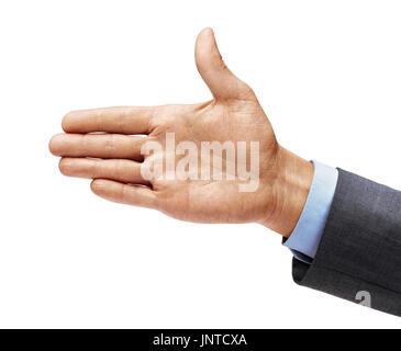 Man's hand in a suit outstretched in greeting isolated on white background. Close up. High resolution - Stock Photo