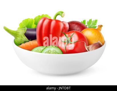 Isolated vegetables. Various fresh vegetables (tomato, cucumber, pepper, capsicum, eggplant, onion, carrot) in ceramic - Stock Photo