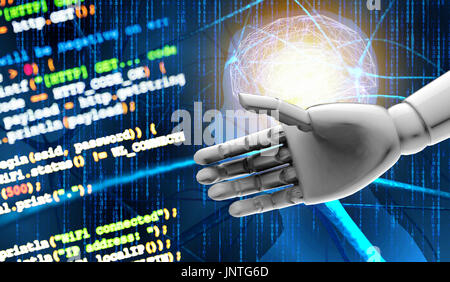 Artificial intelligence (AI) advisor or robo-advisor , machine and deep learning automation technology concept.3d - Stock Photo