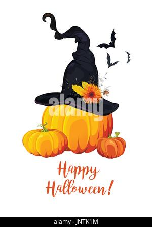 Happy Halloween text, Greeting card with witch magic hat, orange flowers, thistle dressed on pumpkin, flying bats. - Stock Photo
