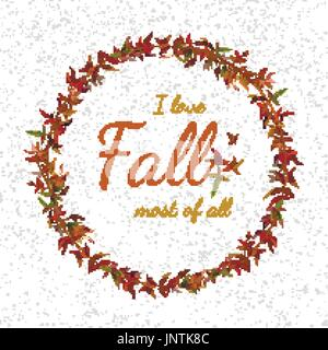 Autumn vine fern Leaves wreath garland vector round orange red yellow colorful leaf branch foliage card design Lovely - Stock Photo