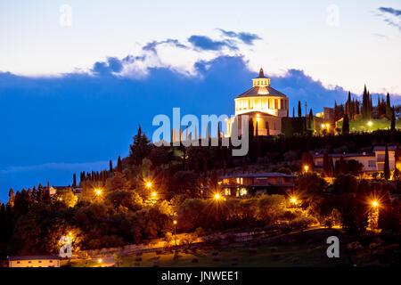 Madonna di Lourdes sanctuary in Verona evening view, Veneto region of Italy - Stock Photo