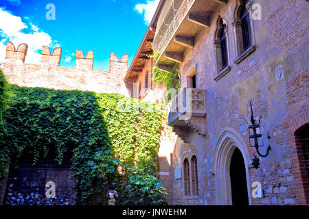 Patio and balcony of Romeo and Juliet house in Verona, Veneto region of Italy - Stock Photo