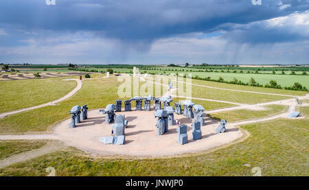 ALLIANCE, NE, USA - July 9, 2017:  Carhenge - famous car sculpture  created by Jim Reinders, a modern replica of - Stock Photo