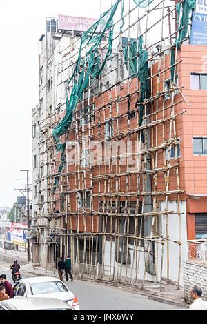Bamboo scaffolding on building, Shillong, Meghalaya, India - Stock Photo