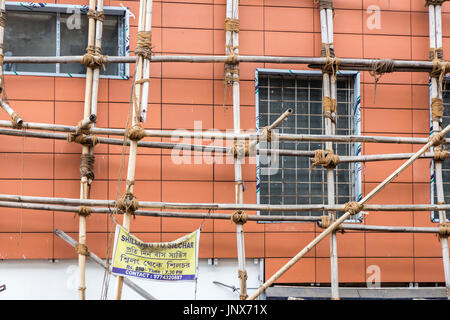 Bamboo scaffolding on building, Shillong, Meghalaya, India - Stock Photo