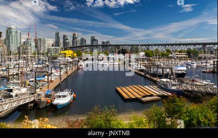 Panoramic Landscape Fisherman Wharf, Granville Island and Marina from False Creek Seawall. Granville Bridge and - Stock Photo