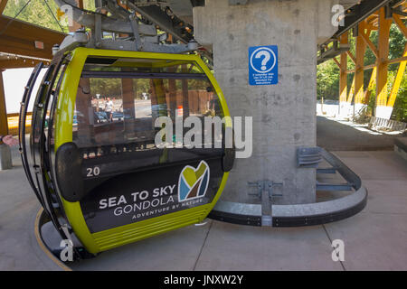 Lower Terminal of Sea to Sky Gondola in Coast Mountains of British Columbia near town of Squamish, Canada - Stock Photo