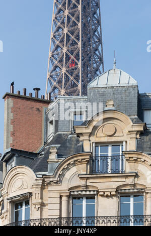 Paris. France - February 27, 2016: Eiffel Tower and nearby apartment buildings in the 7th arrondissement, Paris - Stock Photo
