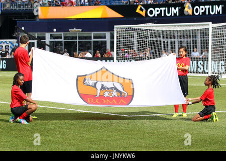 Gillette Stadium. 30th July, 2017. MA, USA; A general view of the AS Roma flag prior to the International Champions - Stock Photo