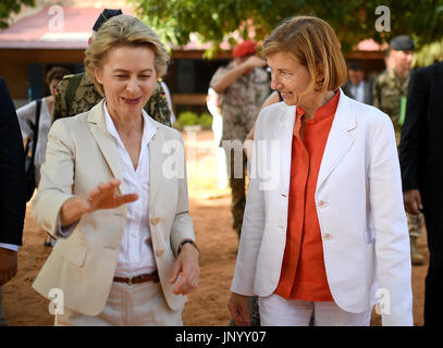 Niamey, Niger. 31st July, 2017. German Defence Minister Ursula von der Leyen and her French counterpart Florence - Stock Photo