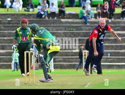 Luton, UK. 31st July, 2017. Bedfordshire, UK. International Cricketers XI play against Luton Pakistanis at Wardown - Stock Photo