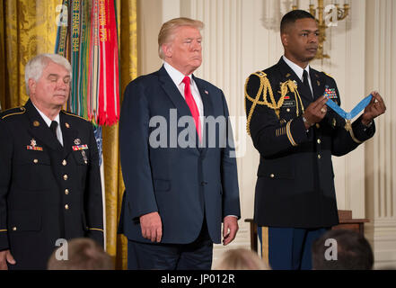 Washington DC, USA. 31st July, 2017. President Donald J. Trump awards the first Medal of Honor medal in his presidency - Stock Photo