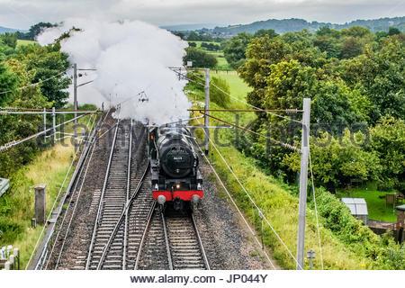 Hest Bank, Lancashire, UK, 1 August 2017, The Fellsman, hauled by Royal Scot Class 46115 Scots Guardsman, passes - Stock Photo