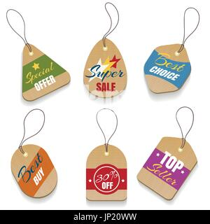 Vector cardboard sale labels or vintage price tags. Paper retro sale badges isolated on white background - Stock Photo