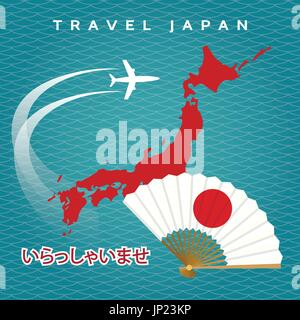 Japanese travel vector poster with japan map, airplane and fan on blue waves background - Stock Photo