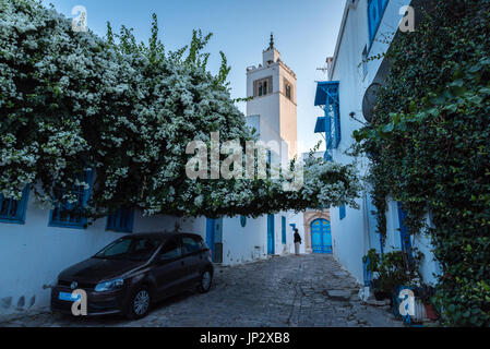 Car in an Alley, and Mosque - Stock Photo
