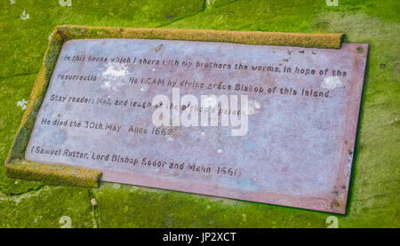 Tombstone at the graveyard in Peel Castle, Isle of Man - Stock Photo