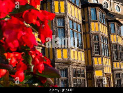 Flowers outside Castle Gates House in Shrewsbury, Shropshire, England, UK - Stock Photo