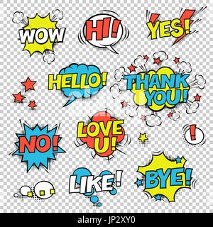 HI, YES, THANK YOU, HELLO, WOW, LOVE U, NO, ..., LIKE, BYE, !. Comic speech bubbles set. Halftones, stars and other - Stock Photo