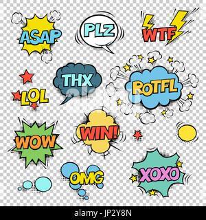 Thx, ASAP, PLZ, WTF, LOL, ROTFL, WOW, WIN, OMG, XOXO. Comic speech bubbles set. Halftones, stars and other elements - Stock Photo