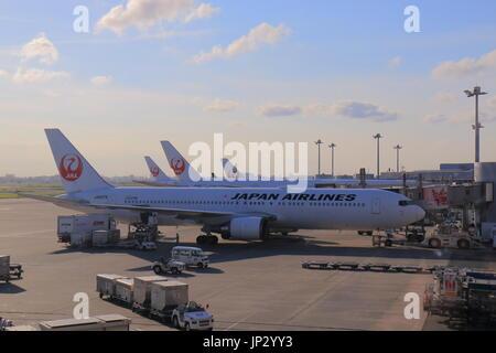 Japan Airline plane at Haneda airport Tokyo Japan. - Stock Photo