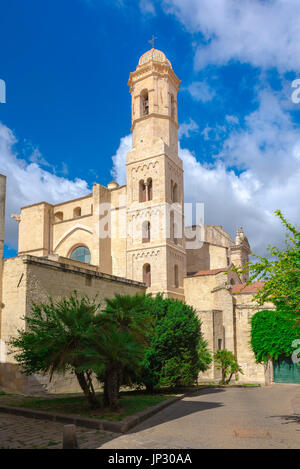 Sassari Sardinia cathedral, view of the east end of the Duomo (Cattedrale di San Nicola) and bell tower in Sassari, - Stock Photo