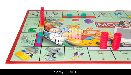 SWINDON, UK - JULY 31, 2017:  Junior Monopoly Game an a white background - Stock Photo