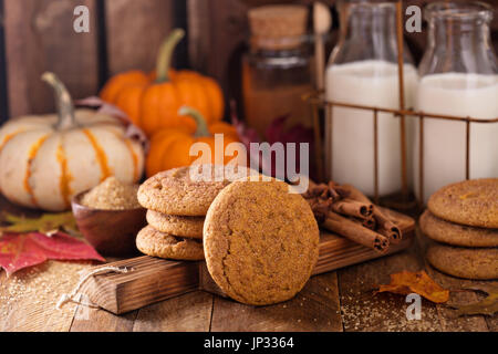 Fall snickerdoodle cookies with pumpkin and cinnamon - Stock Photo