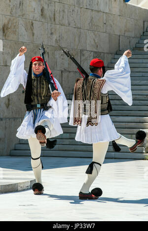 Changing of the Guard in front of the Greek Parliament building, Athens, Attica, Greece - Stock Photo
