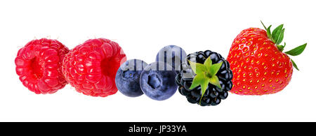 Berries collection. Raspberry, blueberry, currant, blackberry,strawberry isolated on white. - Stock Photo