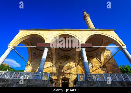 Europe, Kosovo, Prizren, Historic city on banks of Prizren Bistrica river, Old town with Sinan Pasha Ottoman Mosque, - Stock Photo