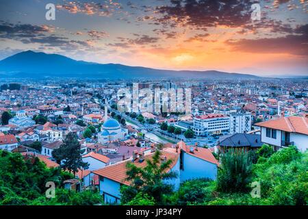 Europe, Kosovo, Prizren, Historic city on banks of Prizren Bistrica river, Old town panorama with Sinan Pasha Ottoman - Stock Photo