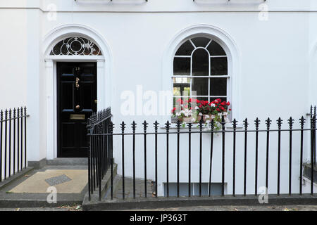 Window box filled with red geraniums and white pelargoniums on Colebrooke Row in Islington, North London N1 England - Stock Photo