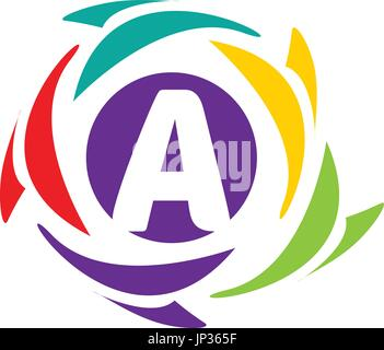 letter A logo within an colorful circle isolated on white background. - Stock Photo
