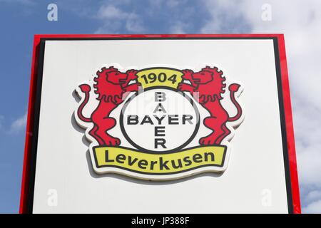 Leverkusen, Germany - July 22, 2017: Bayer Leverkusen logo on a panel. Bayer leverkusen is a German football club - Stock Photo