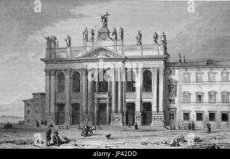 The Papal Archbasilica of St. John in Lateran or Arcibasilica Papale di San Giovanni in Laterano, commonly known - Stock Photo