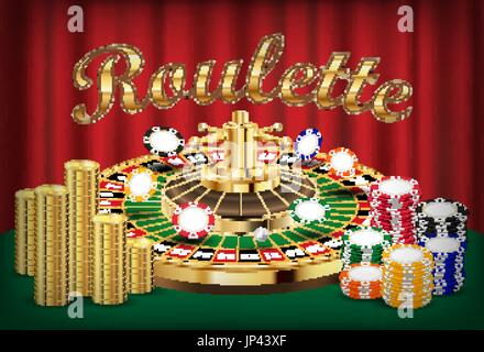 casino roulette with pile of coin and casino ship - Stock Photo