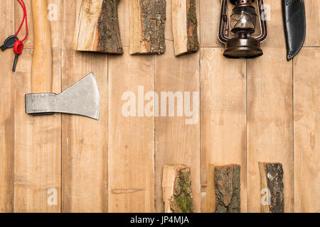 Traveler set on wooden background, flat lay - Stock Photo