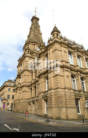 Facade of Halifax Town Hall in Halifax, England. The Grade-II listed building was designed by Charles Barry, the - Stock Photo