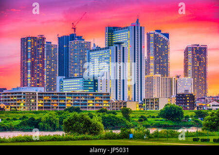 Kawasaki, Japan downtown city skyline. - Stock Photo