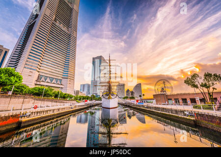 Yokohama, Japan cityscape and harbor. - Stock Photo