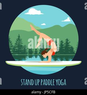 Woman doing Stand Up Paddling Yoga on Paddle Board on Water at lake Mountain landscape Stand Up Paddle Yoga Workout - Stock Photo